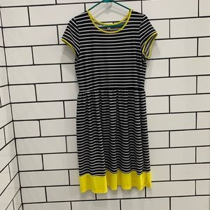 Black & white Striped Dress with yellow accents !